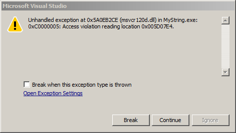 screenshot visual studio access violation window