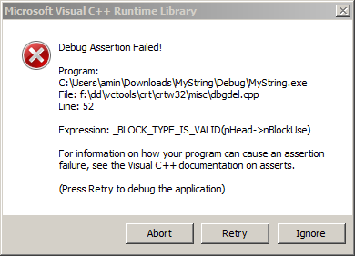 screenshot visual studio debug assertion failed window