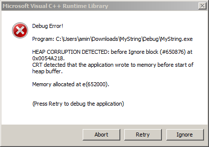screenshot visual studio heap corruption detected window